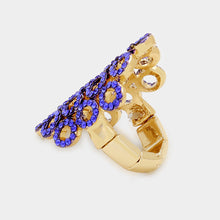 Gold Blue Vibrant Sapphire Crystal Big Stretch Cocktail Ring