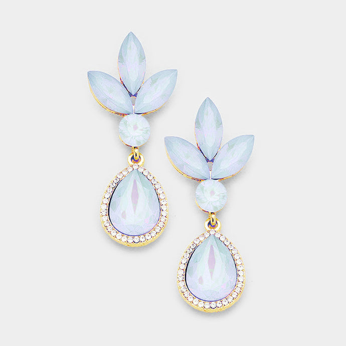 WHIMSICAL Gold Blue Opal Crystal 2 inch Cocktail Earrings