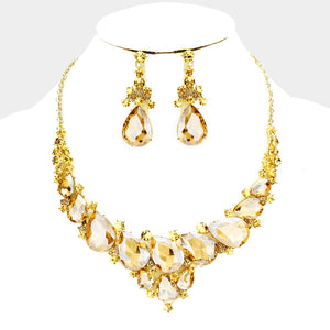 Gold Light Topaz Crystal Collar Cocktail Necklace Set
