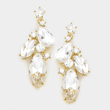 "Gold Crystal BIG 2.5"" Cocktail Bridal Earrings"