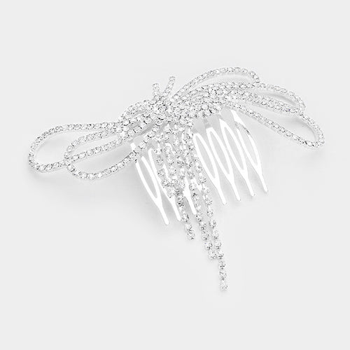 BIG Silver Pave Crystal Bow Cocktail Hair Comb