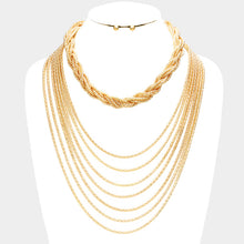 Statement Gold Multi Layered 2 Piece Necklace Set