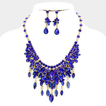 LUXE Statement Gold Sapphire Blue Crystal Cocktail Necklace Set