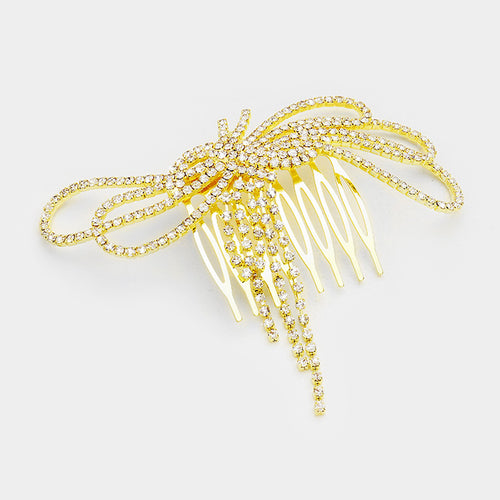 BIG Gold Pave Crystal Bow Hair Comb Cocktail / Bridal Prom