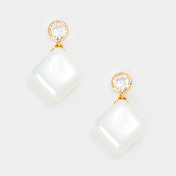 UNDERSTATED Gold CZ & Pearl Cube Cocktail Bridal Earrings