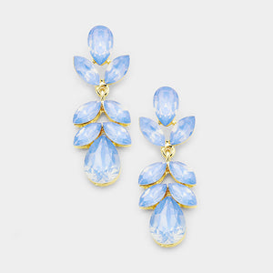 "Rare Gold Blue Opal Crystal 1.75"" Cocktail Earrings"