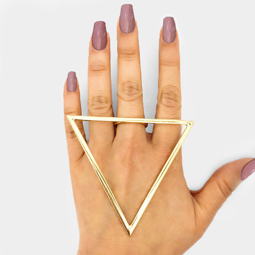 Glam Over Sized Statement Huge Triangular Gold Ring