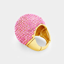 LUXE Gold Pink Pave Crystal Huge Dome Stretch Cocktail Ring