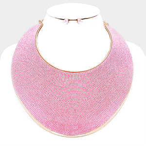 LUXE Statement Rose Gold Pink Crystal Huge Cuff Curved Choker Necklace