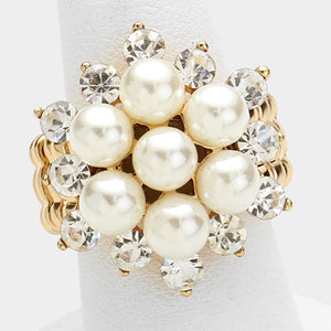 BIG Gold Pearl Crystal Stretch Cocktail Ring