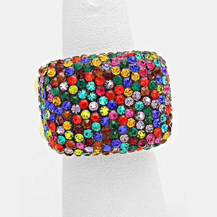 Gold Multi Pave Crystal Big Stretch Cocktail Ring