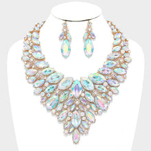 LUXE Statement Gold AB Crystal Cocktail Bridal Necklace Set