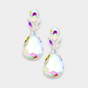 "Silver AB Tear Drop Crystal 2"" Cocktail Bridal Earrings *WEBSITE OFFER"