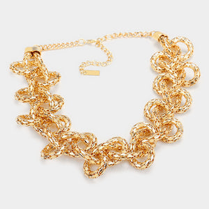 Statement Gold Braided Metal Chain Necklace Set