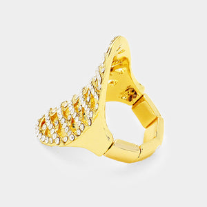 Gold Plaid Clear Pave Crystal Big Stretch Cocktail Ring