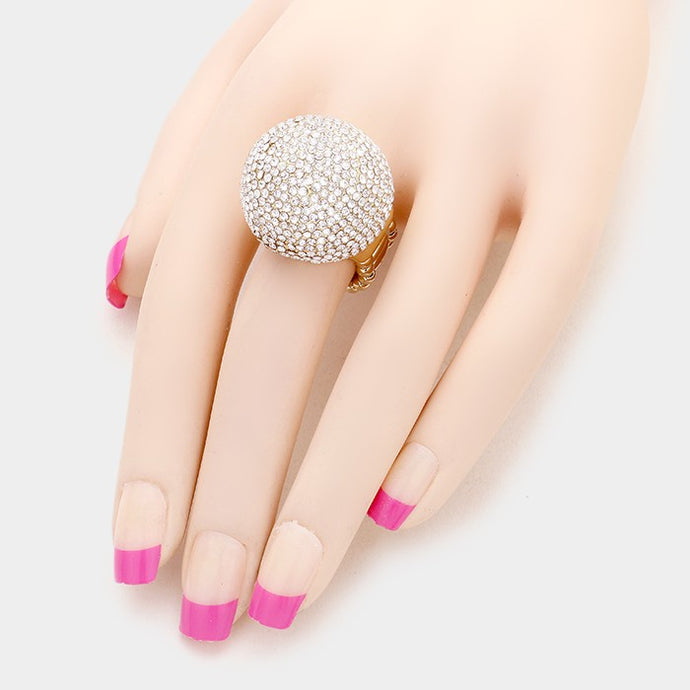 LUXE Gold Pave Crystal Big Dome Stretch Cocktail Ring