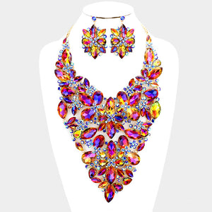 LUXE Statement Couture Blue Fire Crystal Cocktail Necklace Set