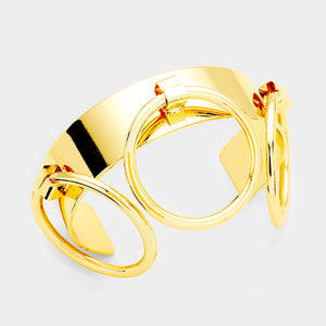 Gold Triple Ring Cuff Bracelet