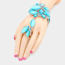 Silver Aqua Frosted Crystal Bracelet Hand Chain Stretch Ring