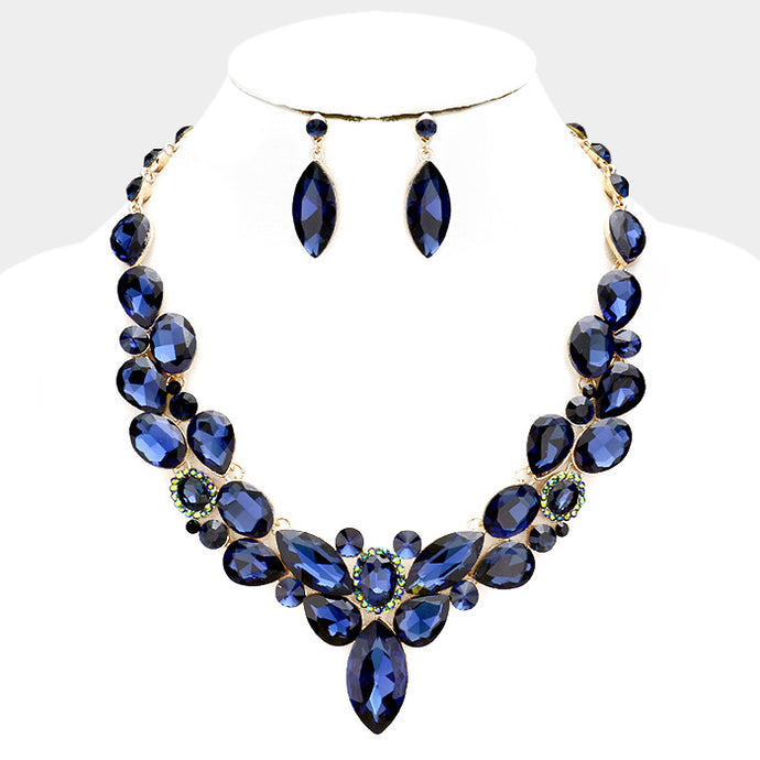 Whimsical Gold Montana Blue Crystal Cocktail Necklace Set