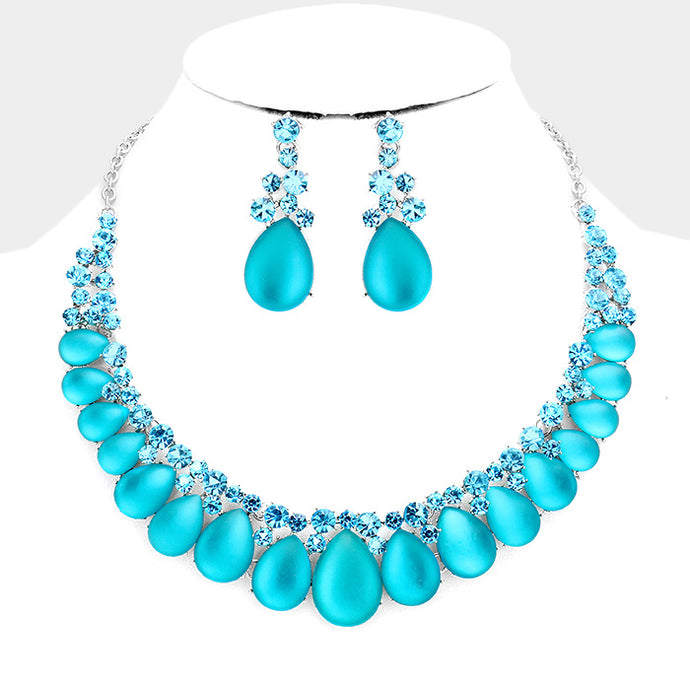 Silver Aqua Frosted Crystal Cocktail Necklace Set
