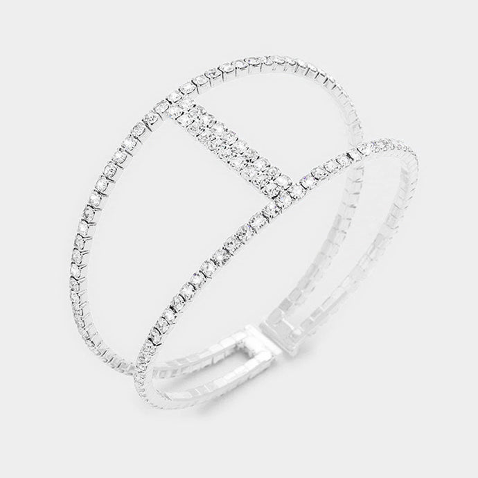 Silver Crystal Cuff Bangle Cocktail / Bridal Bracelet