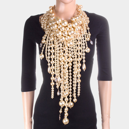 LUXE Spectacular Couture Statement Gold Pearl Collar Necklace