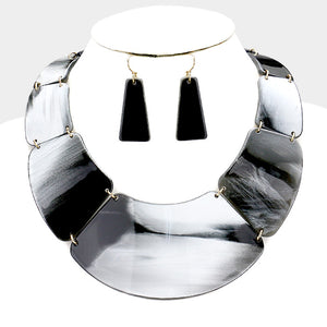 UNUSUAL Celluloid Statement Gold Grey Shades Collar Necklace Set
