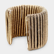 Statement Gold Coil Wrapped Metallic Cuff Bracelet