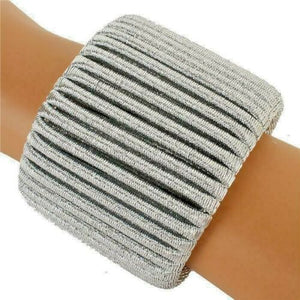 Statement Silver Coil Wrapped Metallic Cuff Bangle