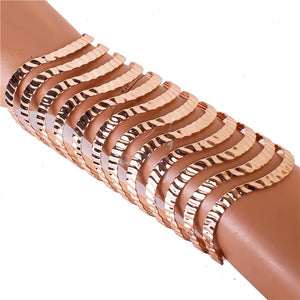 LONG Rose Gold Wavy Cuff Bangle Bracelet