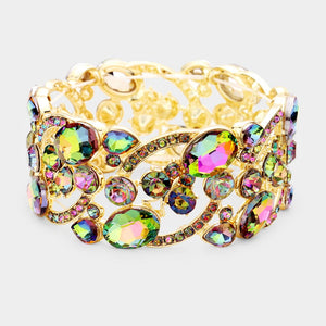 Gold Vitrail Butterfly Oval Crystal Stretch Cocktail Bracelet
