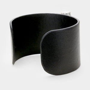 UNUSUAL Wood Natural Stone Howlite Black Leather Cuff Bracelet