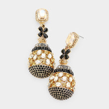 "Gold Black Jet Topaz Crystal Big 2.75"" Bell Cocktail Earrings"
