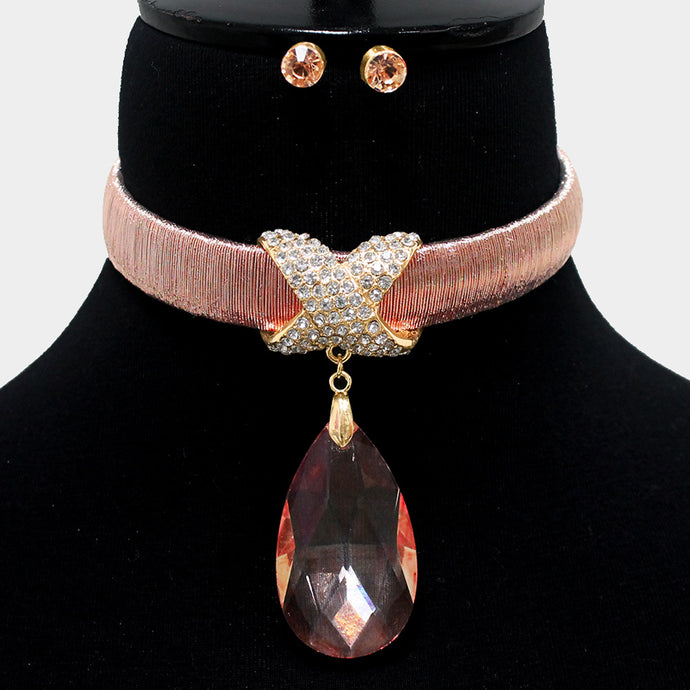 LUSH Statement Gold Peach Crystal Choker Necklace Set