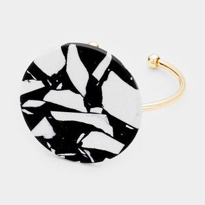 UNIQUE Statement Gold Black Marbled Stone Cuff Bangle