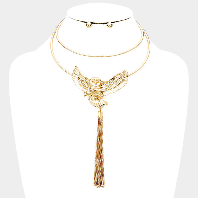 Glam Celebrity Gold Statement Necklace Set Owl Layered Tassel