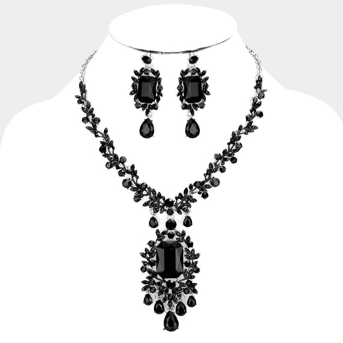 Silver Black Jet Crystal Vine Glam Cocktail Necklace Set