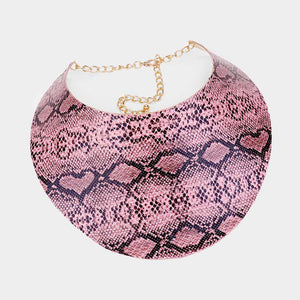 LUXE Statement Gold Black Pink Snake Cuff Choker Necklace Set