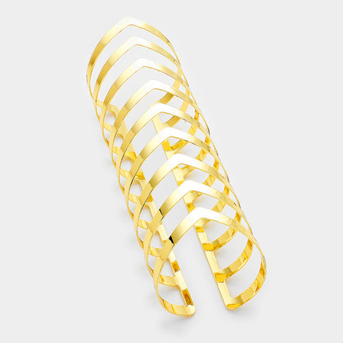 EXTRA LONG Gold Chevron Cuff Bangle