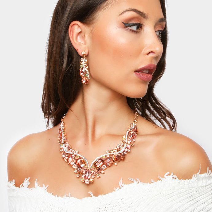 LUXE Statement Gold AB Peach Crystal Cocktail Necklace Set