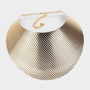 LUXE Celeb Statement Gold Oversized Curved Choker Necklace Set