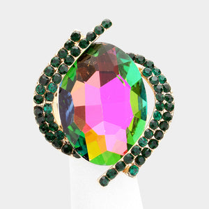 BIG Gold Vibrant Green Vitrail Crystal Stretch Cocktail Ring