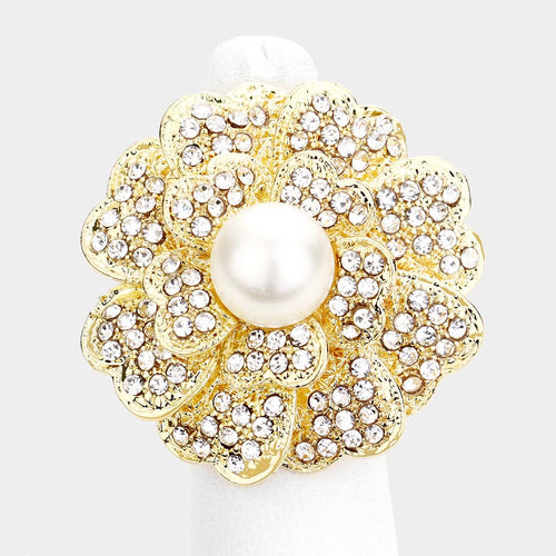 WHIMSICAL Gold Crystal Huge Pearl Stretch Flower Cocktail Ring