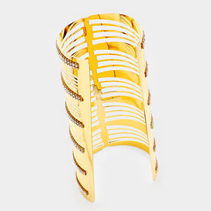 OVERSIZED Extra Long Gold Crystal Cuff Bangle