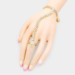 Gold Snake Pave Crystal Bracelet Hand Chain Adjustable Ring