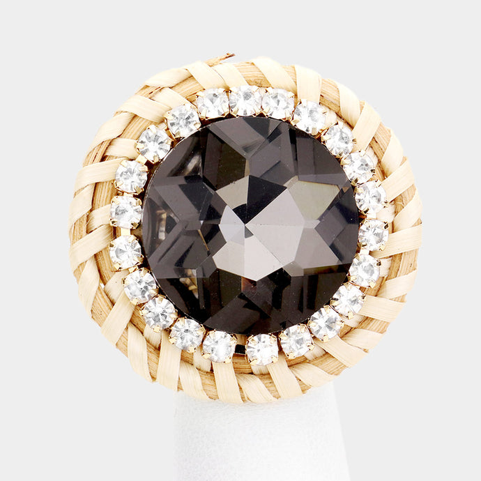 STATEMENT Gold Black Diamond Crystal Adjustable Huge Weave Ring