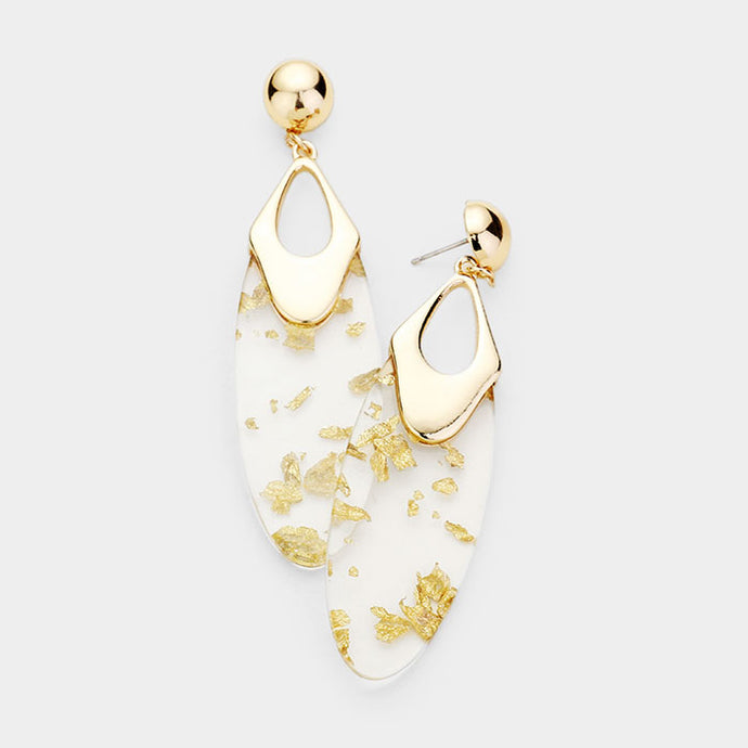 STATEMENT Glam Sparkled Gold Clear Lucite BIG Cocktail Earrings