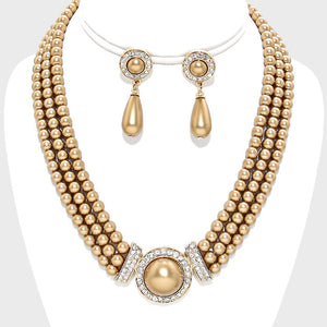 GLAM Gold Champagne Pearl 3 Row Collar Cocktail Necklace Set