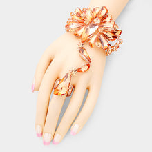 Rose Gold Peach Crystal Cocktail Bracelet Hand Chain Stretch Ring